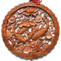 玄关墙壁装饰挂件木雕桃木莲花双鱼家居壁饰品