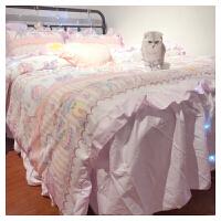 纯棉~淡紫色荷叶边梦幻床裙少女心床单被套四件套 全套! 梦幻紫色花边款~