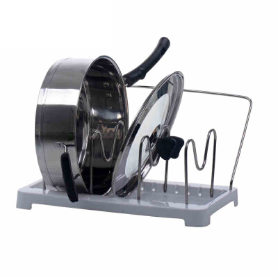 厨房用品置物架 砧板架不锈钢锅盖架带塑料接水盘