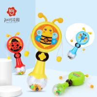 知识花园婴儿拨浪鼓0-6-12个月宝宝波浪鼓益智手摇铃玩具可啃咬牙胶音乐播放沙锤