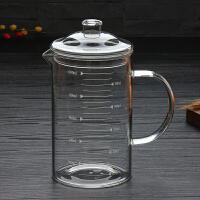 家用玻璃量杯带刻度大烧杯厨房耐热高温加厚毫升杯子250-1000ml 带盖