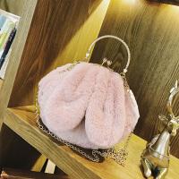 毛绒包包女斜挎韩版可爱手提毛毛包秋冬兔耳朵单肩链条包