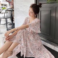 谜秀雪纺连衣裙女2018夏装新款显瘦碎花仙女中长款不规则裙子夏潮