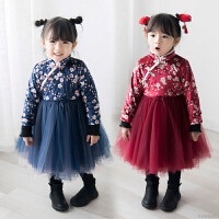 女童旗袍裙冬加绒加厚宝宝唐装中国风蓬蓬公主裙汉服连衣裙拜年服