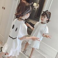 女童连衣裙夏装新款儿童夏季短袖荷叶边裙子中大童韩版