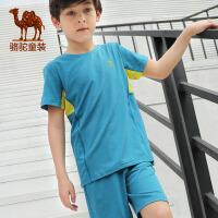 camel骆驼童装 春夏季儿童户外运动套装男童女童短袖T恤裤子2件套装