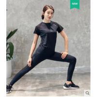 运动服休闲短袖户外套装瑜伽服高腰韩国宽松健身房运动跑步服健身服女