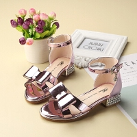 女童凉鞋夏夏季高跟中大童学生公主鞋女童鞋儿童凉鞋