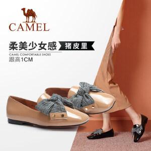 【满299减200元】骆驼女鞋 秋季新款深口复古单鞋女 方头方跟韩版百搭少女鞋子