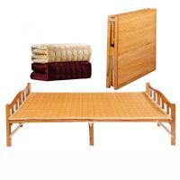 折叠床单人双午休睡实木板式躺椅简易家用临时客1.2m1.5米竹床 宽150*长198cm棕色宽版