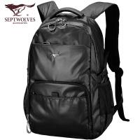 七匹狼双肩包男书包女大学生电脑包时尚潮流男士背包大容量旅行包