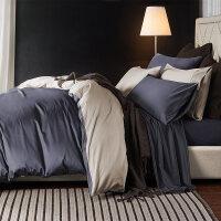 床上四件套纯棉床单被罩被套1.8m床笠贡缎三件套纯色床上用品 深灰色 深空灰配浅米灰
