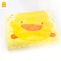 黄色小鸭宝宝毛毯礼盒春秋冬款加厚双层拉舍尔新生婴儿毯子*