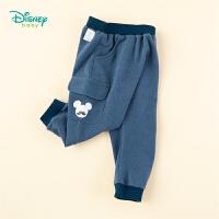 迪士尼Disney童装 男童休闲裤嘻哈时尚哈伦裤春季新品男孩仿牛仔鱼鳞布长裤
