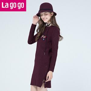Lagogo/拉谷谷2017冬季新款直筒纯色长袖圆领连衣裙