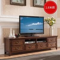 美式家具 客厅电视机柜复古白蜡木 茶几组合整装 美式实木电视柜 整装