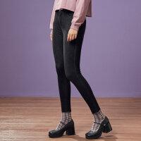 【全场2件2.5折,到手价:49.8】美特斯邦威牛仔裤女秋季新款韩版显瘦潮流彩色边学生紧身裤