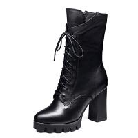 靴子女中筒靴粗跟2018秋冬季新款棉鞋真皮高跟马靴加绒加厚马丁靴真皮 黑色 加绒