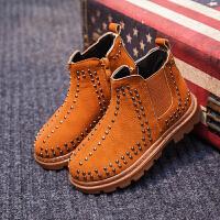 儿童马丁靴铆钉秋冬新款中小童加绒男童靴子英伦风女童短靴潮 棕色 二棉
