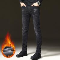 加绒牛仔裤秋冬款士黑色冬季韩版潮流弹力加厚修身小脚裤子 加绒款8黑色