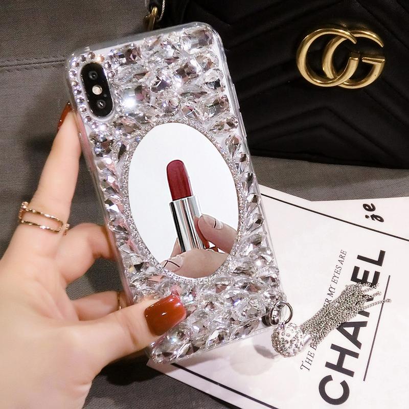 新款苹果6s手机壳女iphone7plus奢华水钻带镜子全包软壳8p网红潮