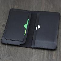 复古手工双手机套壳包iPhone6splus苹果8plus三星7华为钱包式皮套 黑色 钱包式