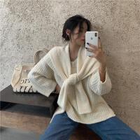 �厝犸LV�I毛衣女秋冬季��松外穿日系�L袖上衣�U空��衫披肩外套