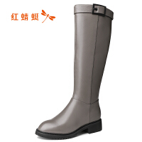 红蜻蜓女靴高筒靴冬季加绒保暖长筒靴显瘦中跟女鞋瘦瘦靴