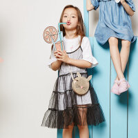 【1件2.5折到手价:56.3】美特斯邦威旗下Moomoo童装女童连衣裙大童短袖T恤吊带衫两件套夏