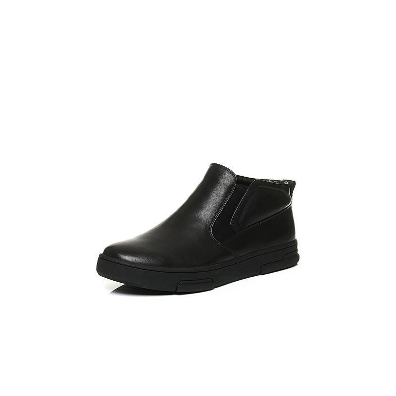 Belle/百丽冬季专柜同款黑牛皮革男休闲靴(绒里)4PP02DD6