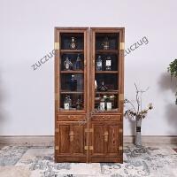 ZUCZUG鸡翅木酒柜家具 新中式实木客厅玻璃展示柜书橱柜储物柜 双门