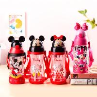 Disney迪士尼儿童水杯宝宝防摔吸管杯喝水学饮杯子带手柄幼儿园水壶夏季