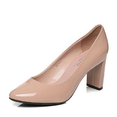 BASTO/百思图秋季专柜同款牛皮通勤简约浅口高跟女单鞋16C20CQ6