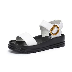 camel 骆驼女鞋 2018夏季新款真皮厚底凉鞋舒适百搭平跟平底松糕鞋女