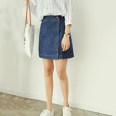 牛仔半身裙女夏季2018新款韩版简约百搭高腰显瘦包臀裙学生短裙子 发货周期:一般在付款后2-90天左右发货,具体发货时间请以与客服协商的时间为准