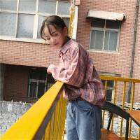 韩系女装新款原宿风bf秋季女装红蓝格子口袋宽松长袖衬衫上衣 图片色 均码