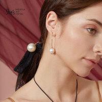 shes饰品 海的故事优雅仿珍珠显脸瘦长款耳环 气质个性耳钉耳饰女