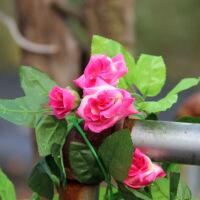 好韵20头玫瑰仿真花藤 绢花塑料假花空调管道遮挡柱子装饰2条