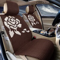 手编冰丝汽车坐垫夏季车座垫套四季通用凉垫车垫子全包围 咖啡色 花开富贵深咖色