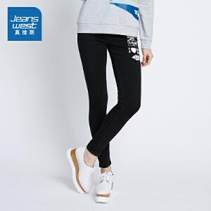 [尾品汇:46.9元,17日10点-22日10点]真维斯牛仔裤女 冬装 显瘦潮流印花迪士尼皮克斯动画牛仔裤潮