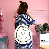 日系原宿简单插画简约线条单肩包百搭文艺学生帆布包大容量手提袋