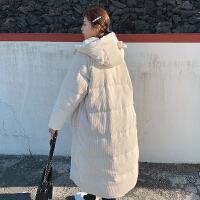 过膝女冬季韩版中长款面包服网红棉衣棉袄外套 米白色 兔耳朵可隐藏