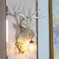 欧式创意鹿头壁灯客厅电视背景墙水晶灯具楼梯过道走廊复古鹿角灯 7725鹿头壁灯 白色仿古
