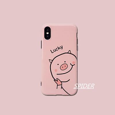 可爱粉色小猪苹果xs max手机壳iphone8plus全包软壳7防摔6s女款xr
