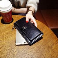 钱包新款女长款手拿卡包拉链韩版潮可放手机一体包个性皮夹子 黑色 收藏送零钱包
