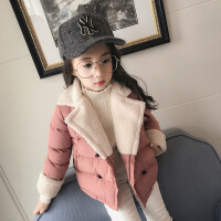 女童加厚外套冬季新款儿童翻领韩版纯色棉袄外衣A4-B7