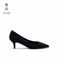 烫黑色高跟鞋女职业2018新款春秋细跟绒面5cm中低跟尖头单鞋女鞋 黑色【羊绒】 5CM