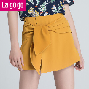 Lagogo/拉谷谷2018年夏季新时尚韩版学院风女个性裙裤HAKK735A42