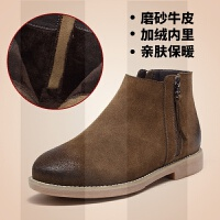 切尔西靴女秋冬季2018新款马丁靴女百搭瘦瘦靴短筒靴平底及踝靴子SN4065 34 偏大半码