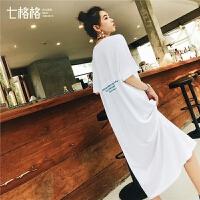 【七格格年中狂欢提前购 到手价:123.8元】七格格短袖T恤连衣裙夏季2019新款女装潮学生韩版气质中长款裙子